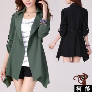 中大呎碼外套~5639 ~秋裝 女式修身風衣韓國 中長款泡泡袖風衣外套M 5XL