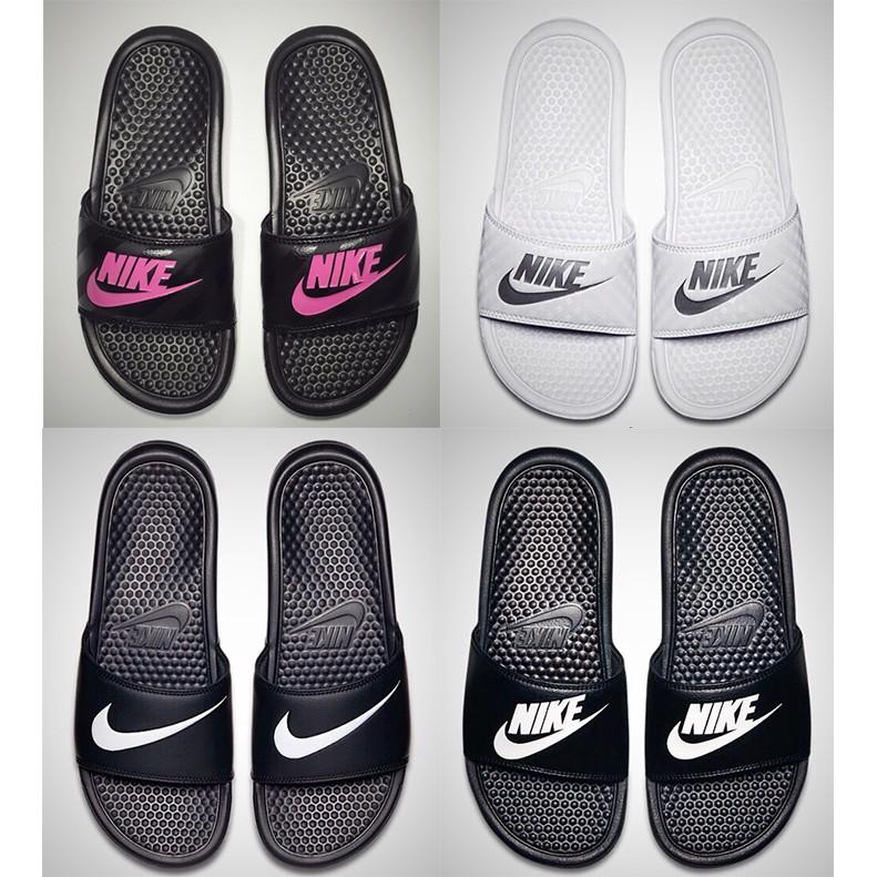 Nike Benassi Shower Slide 耐吉黑白勾勾情侶拖鞋沙灘拖鞋一字拖鴛鴦