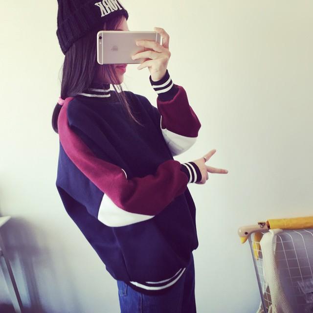~預售~實拍韓國 裝 ulzzang 刷毛拼色領口條紋長袖拼接套頭衛衣女學生