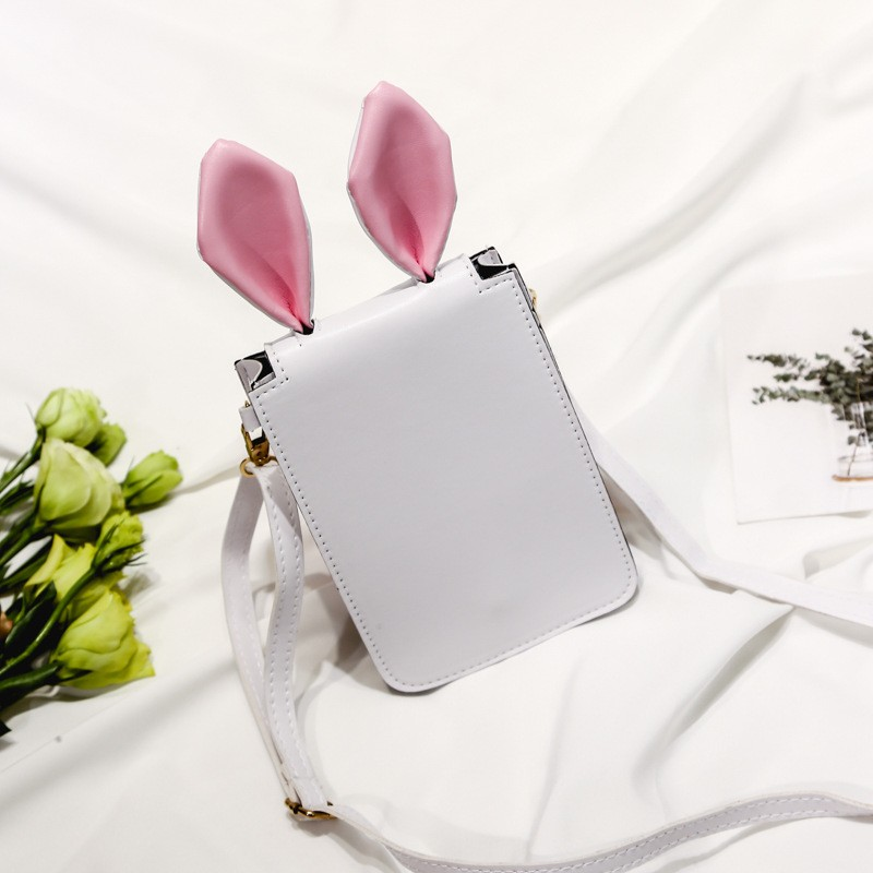 兔耳朵手機包女斜跨包可愛 小包包單肩包簡約女包潮流