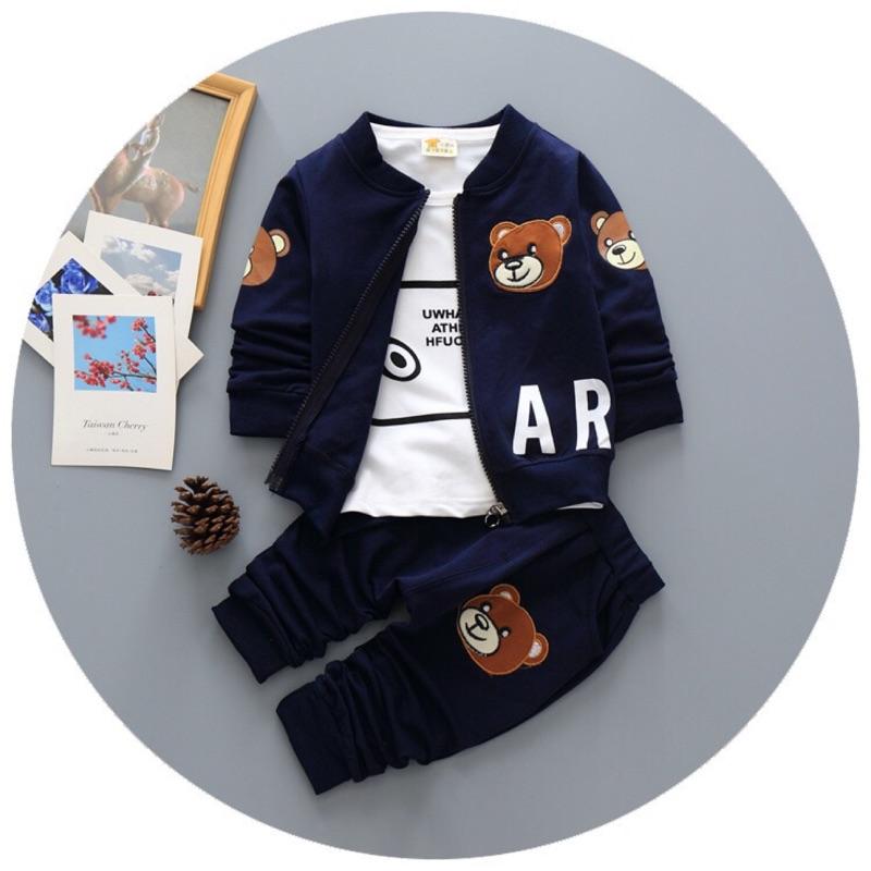 曈曈Baby 童套裝男童女童三件套棉秋款小熊爆款寶寶外套嬰兒衣服