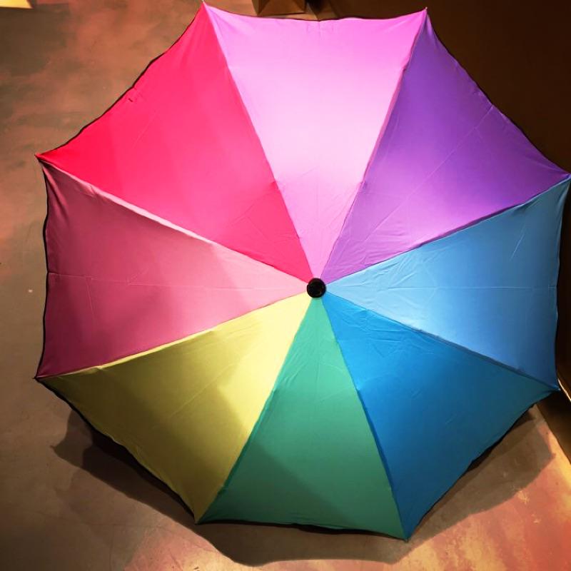 晴雨兩用折疊傘彩虹傘 文青七彩日系 實品拍攝兩款擇內層黑膠款