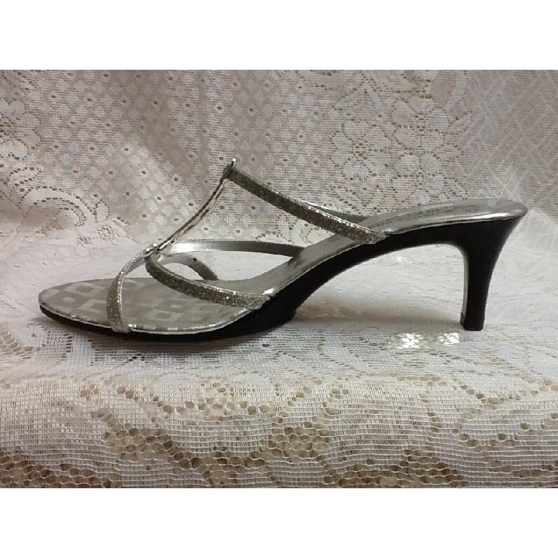 H19 ~ 製~銀色水晶亮片~高跟鞋楔型魚口涼鞋休閒鞋 鞋長短靴裸靴~ 38 ~AS NI