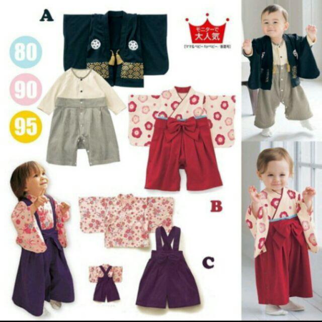 日式寶寶兒童和服浴衣長袖兩件式開扣吊帶褲春秋男女寶寶寫真拍照攝影女童男童
