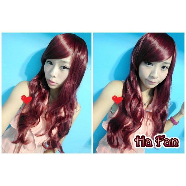 IJ019 斜瀏海酒紅長捲髮高溫絲整頂假髮可燙cosplay