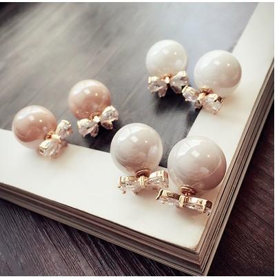 日 珍珠水晶蝴蝶結耳釘女氣質韓國 甜美耳環耳墜裝飾品