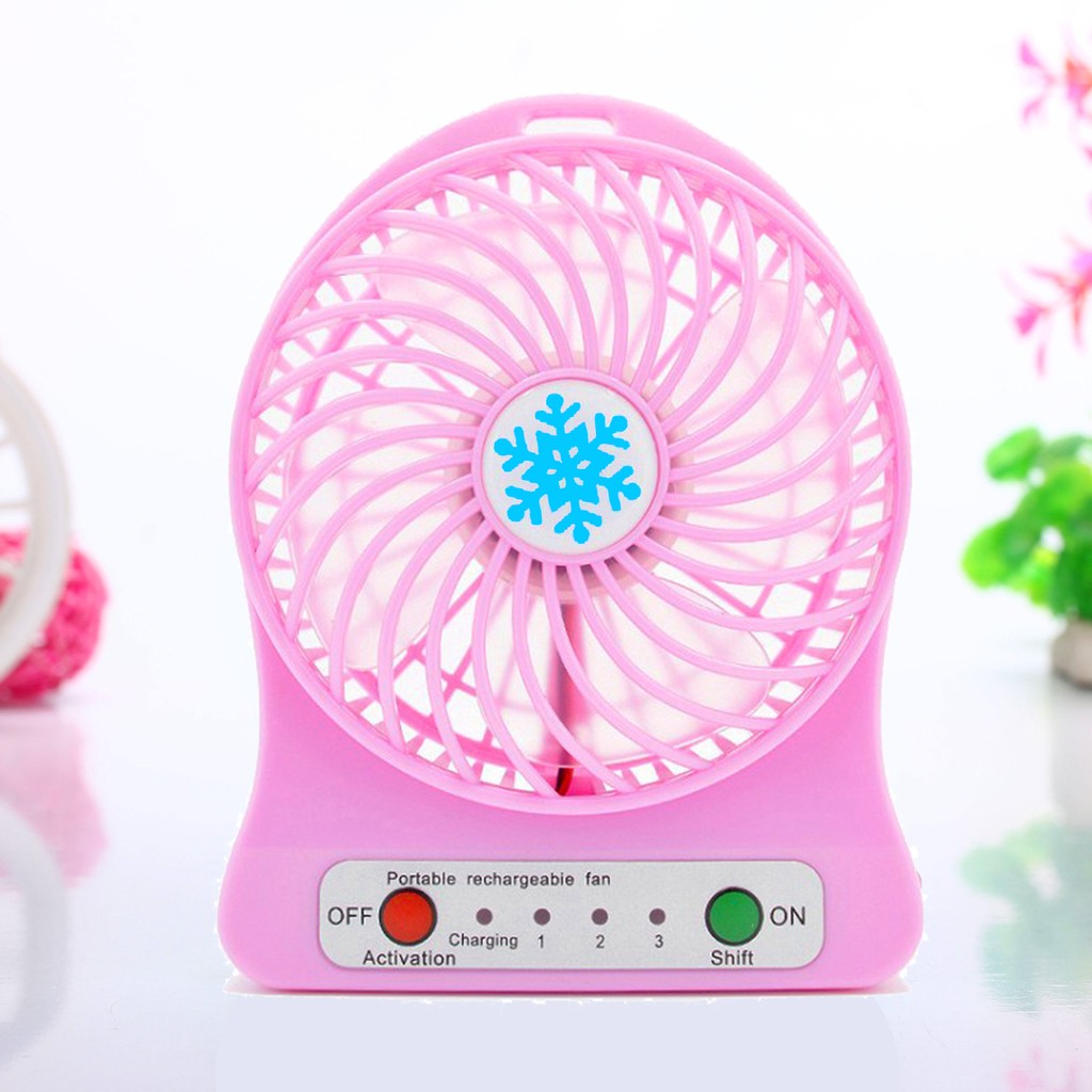 雪花扇F95B USB 迷你充電風扇櫻花粉攜帶型芭蕉扇特別版含充電電池LED 照明靜音消暑