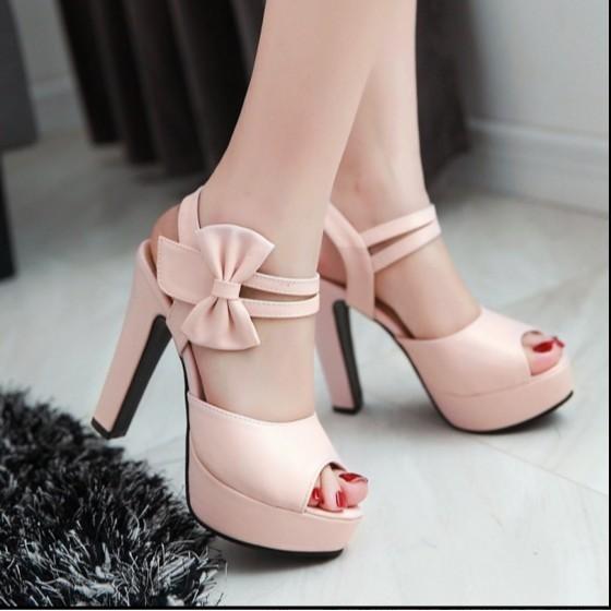 2016 甜美蝴蝶結防水台淺口百搭性感魚嘴粗跟舒適高跟女涼鞋高跟鞋高跟鞋高跟鞋高跟鞋高跟鞋