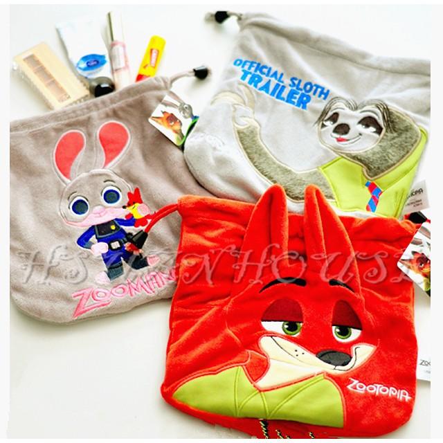 動物方城市胡尼克哈茱蒂狐狸兔子絨毛束口袋收納包化妝包萬用包拍立得包