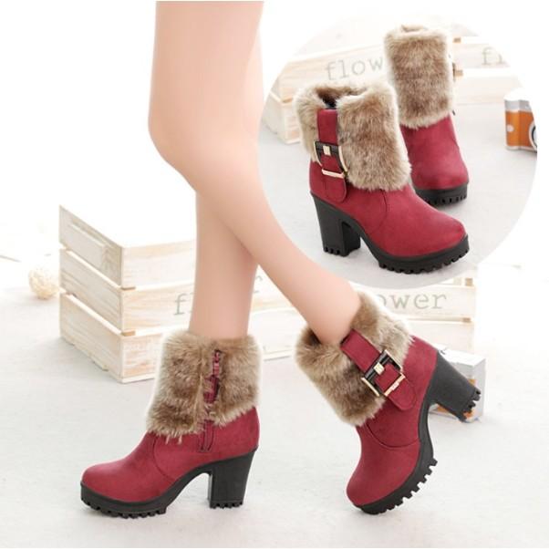短靴馬丁鞋正韓海外 2016  粗跟高跟皮毛一體雪地靴加絨短靴馬丁靴女