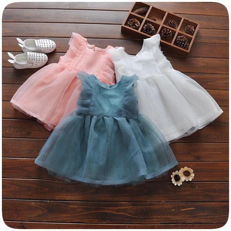 曈曈Baby 寶寶小飛袖歐根紗純色公主裙洋裝