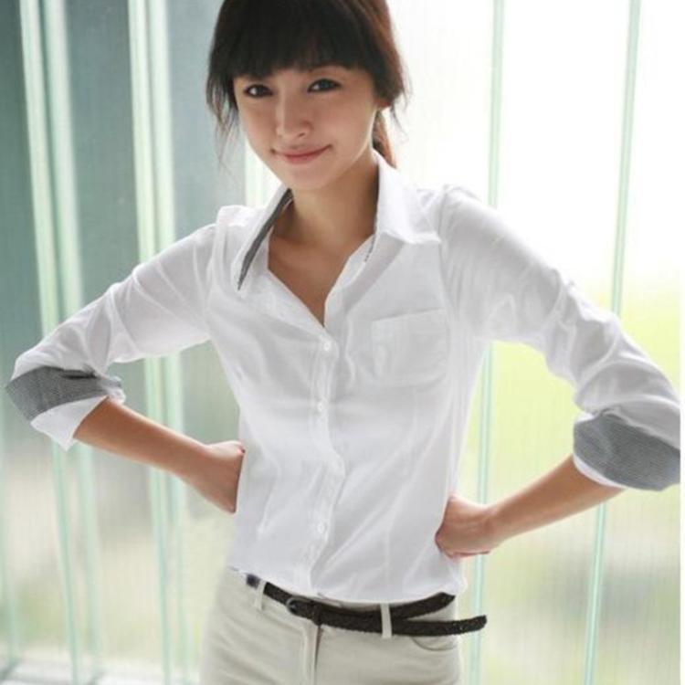 春裝新品潮韓範氣質優雅職業襯衣大碼白襯衫女生長袖領袖拼色正裝
