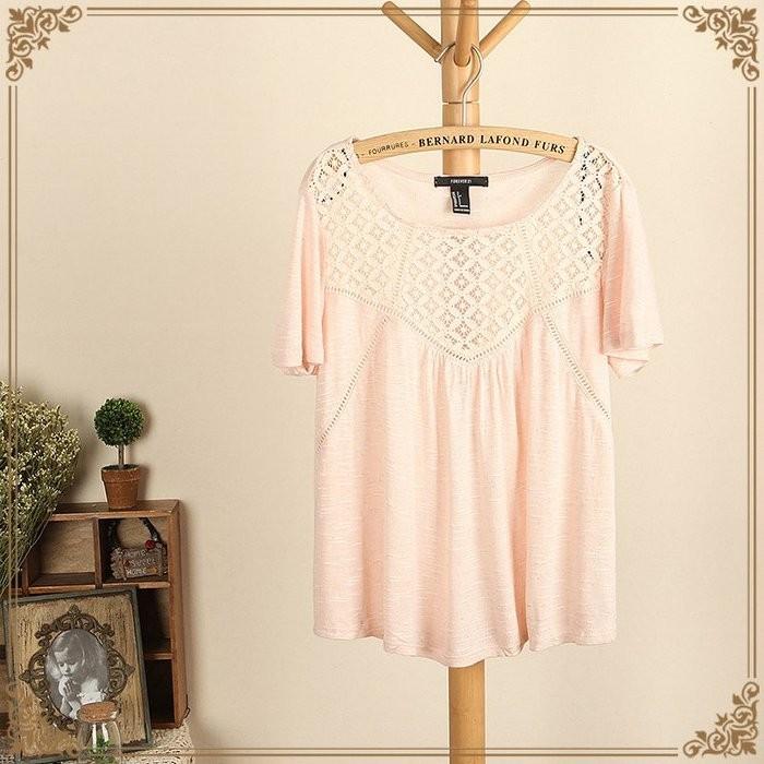 ❤ ➘138 ✽大碼女裝上衣寬鬆短袖鏤空蕾絲衫粉色