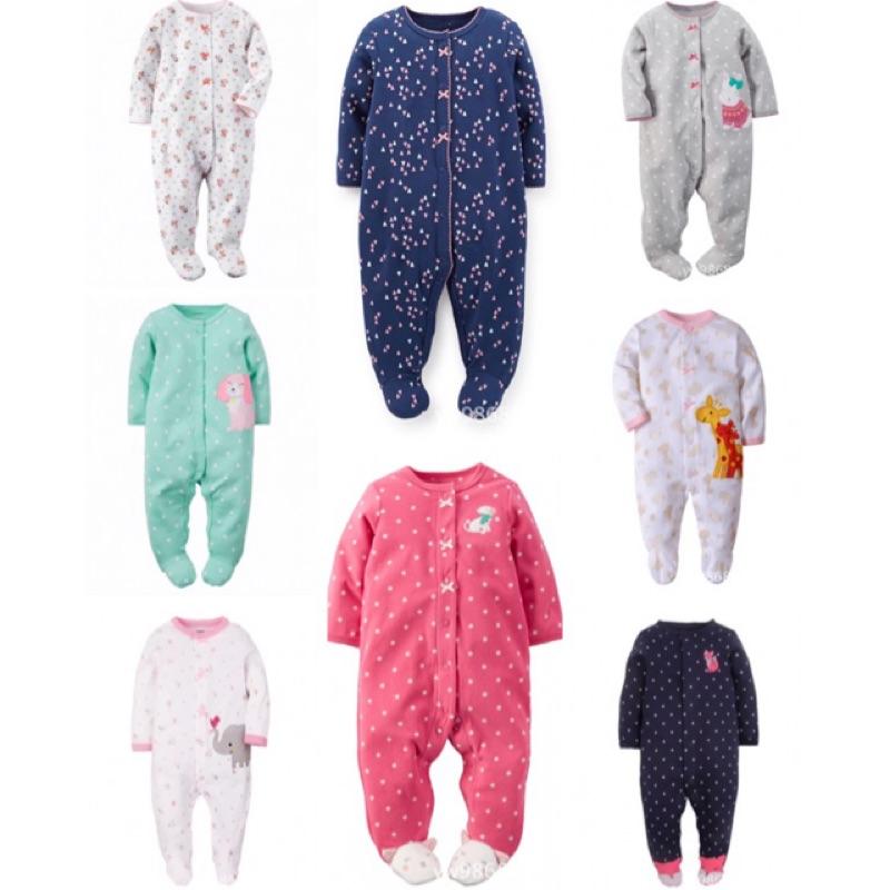 3 件美國Carters 卡特女嬰兒女寶寶長袖包腳連身衣兔裝春秋新生兒連體衣寶寶全棉包腳哈