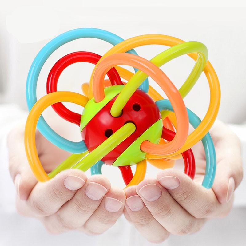 固齒器固牙球嬰幼兒牙膠球兒童磨牙棒牙膠固齒器寶寶搖鈴手抓球益智玩具兒童玩具
