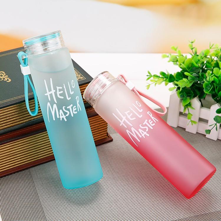 漸變色玻璃杯便攜女士水杯隨手杯檸檬杯磨砂韓國學生杯子水瓶