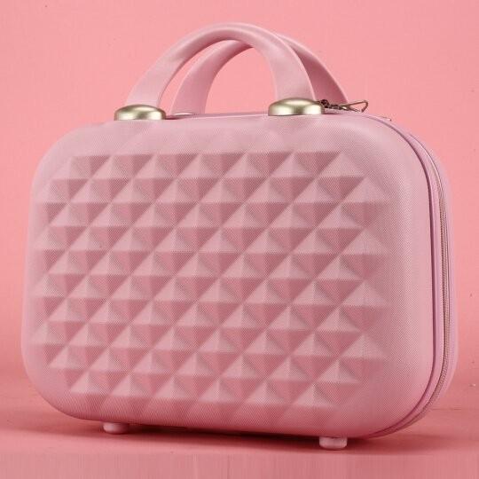 KT 凱蒂貓鉆石紋女士防水 行李箱可愛小型手提箱女化妝包14 寸