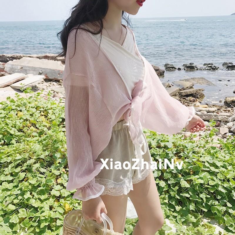 防曬衫海灘風外套荷葉袖皺褶開衫女裝透視蝙蝠衫上衣防曬衣女生衣著