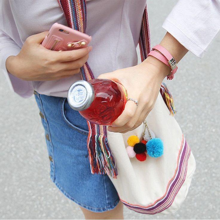 韓國復古民族風可愛毛球水桶包帆布包