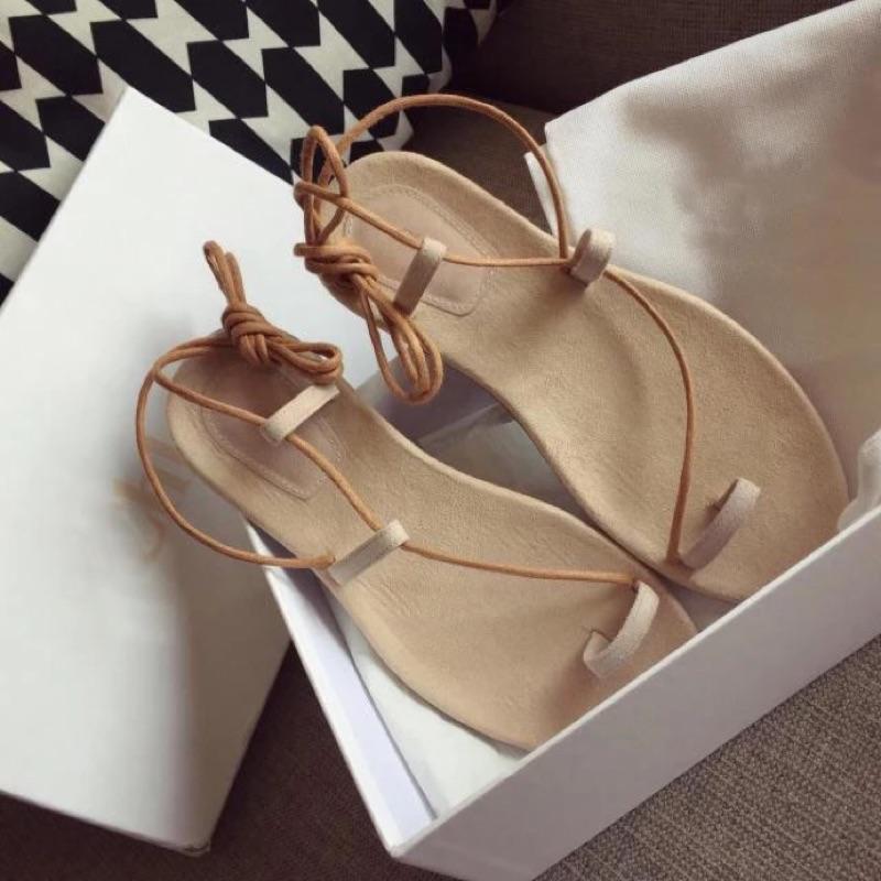 羅馬涼鞋女2016 夏天季 性感套腳趾平底潮細帶沙灘綁帶涼鞋