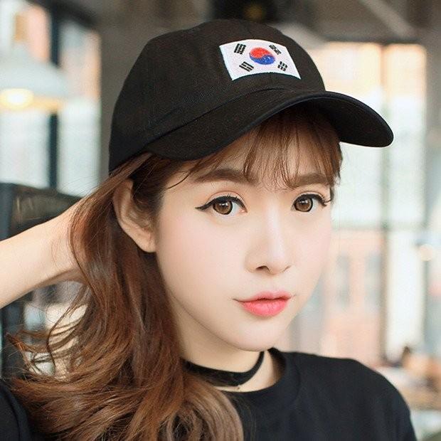 韓國 權志龍同款韓國國旗棒球帽老帽彎帽鴨舌帽彎沿帽子K654