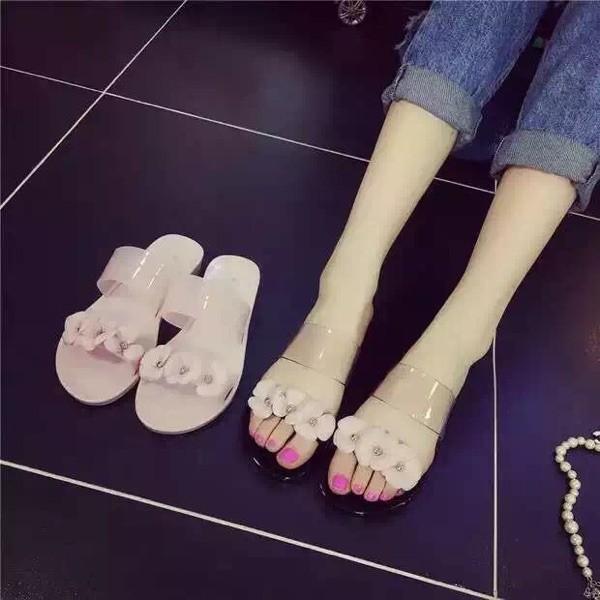 韓國 甜美粉色花朵平底涼鞋沙灘鞋露趾果凍涼鞋塑膠涼拖鞋女高跟鞋單鞋豆豆鞋涼鞋懶人鞋厚底鞋工