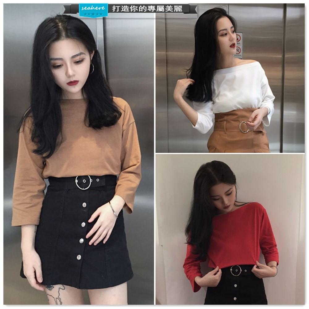 實拍复古韩国chic 风显瘦一字领开叉纯色七分袖T 恤衫打底衫上衣女