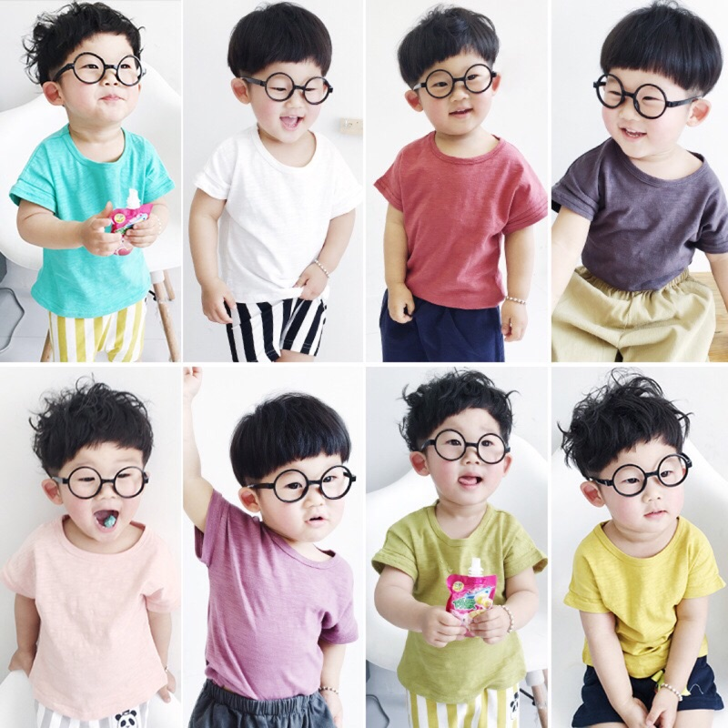 蓁誠 男童女童兒童寶寶小童舒服柔軟休閒素面彩色短袖圓領T 恤上衣竹節棉