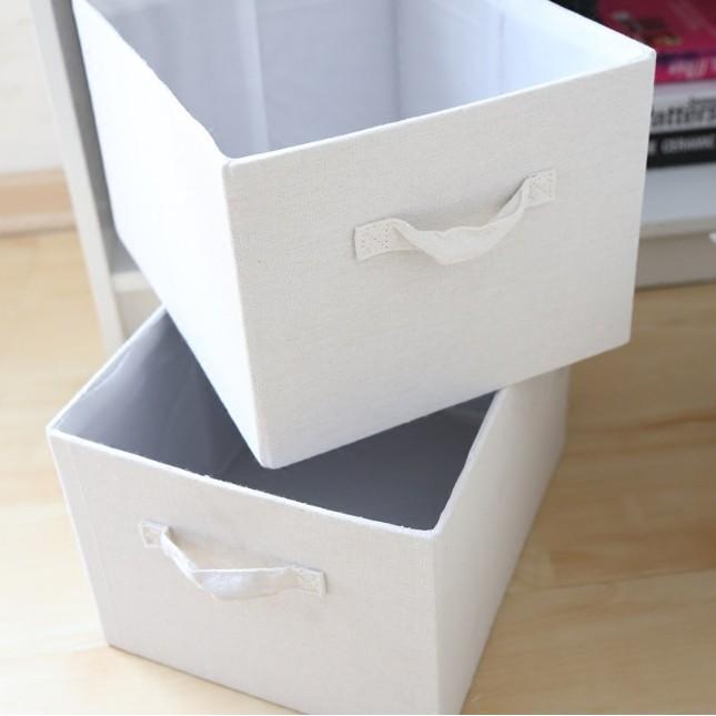 出口 尾單ZAKKA 風外貿棉麻純色白色亞麻可折疊收納籃收納盒