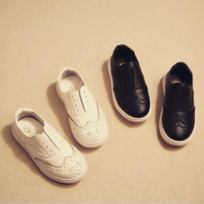 ·真皮雕花懶人小童中童大童鞋黑白