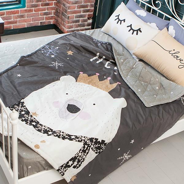 精梳純棉活性印染床包涼被四件組北極熊單人雙人雙人加大