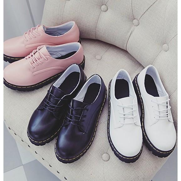 英倫圓頭厚底休閒皮鞋