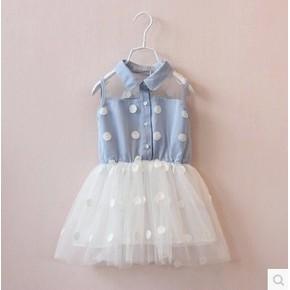 2016 夏 兒童女童寶寶公主背心裙牛仔波點蕾絲拼接連衣裙