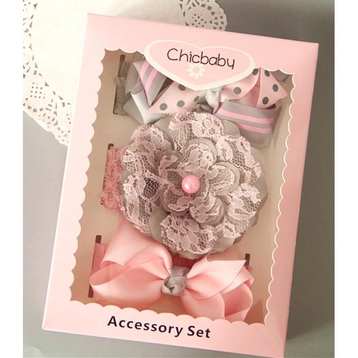 女寶寶灰粉色嬰兒髮帶頭帶飾品髮箍套裝