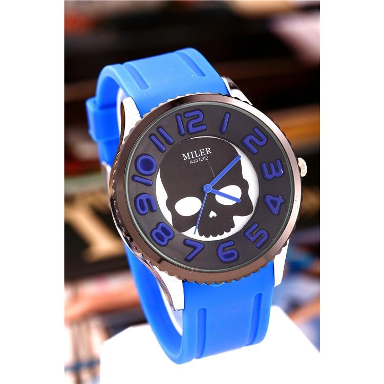 矽膠手錶女士時裝表男裝骷髏圖案休閒女裝腕錶男士數字手錶