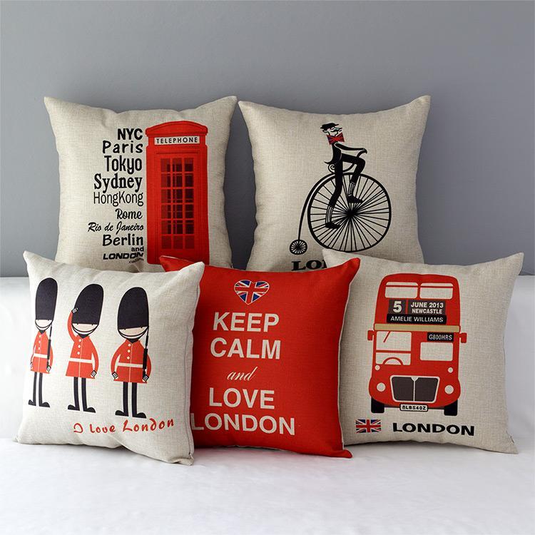 ~英倫1 倫敦公車巴士士兵電話亭厚棉麻抱枕抱枕套不含枕芯枕心英國枕頭午睡枕45 45 幸福