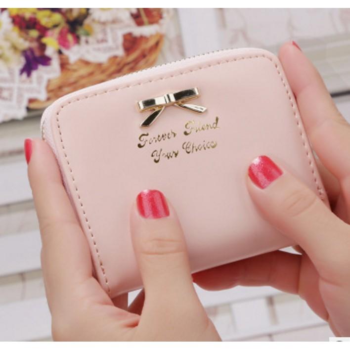 買一送一送卡套超 蝴蝶結短夾皮錢包女短款 拉鍊長夾手機零錢包女式皮夾手拿包零錢手機包皮夾點