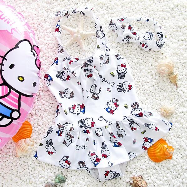 hello kitty 貓女童連衣裙泳裝