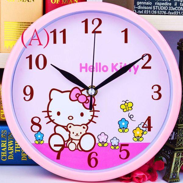 客廳鍾靜音kitty 掛鐘兒童臥室靜音卡通時鐘簡約石英鐘