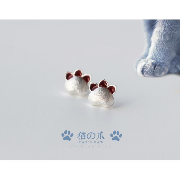 皇后銀飾甜美貓爪耳環超萌肉球耳針925 純銀E39