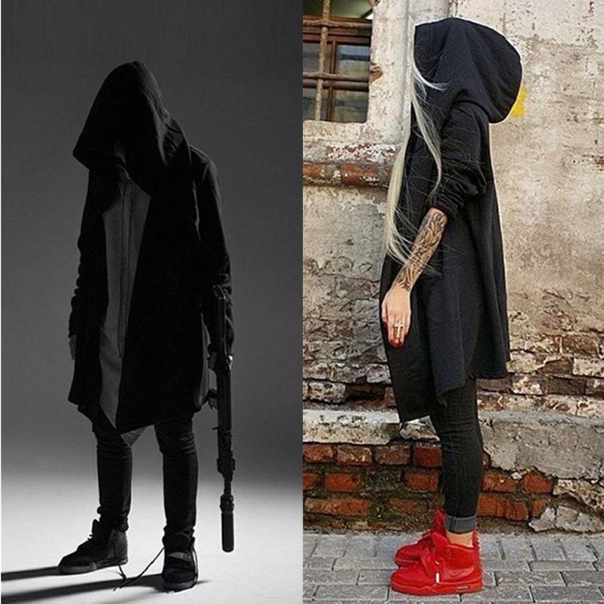 瘋狂敗金女 暗黑男裝風衣青少年開衫中長款大衣披風男士鬥篷連帽黑色外套