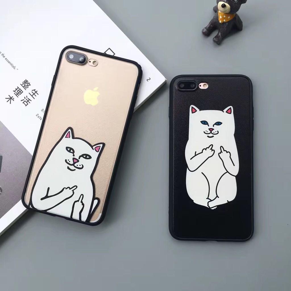 搞怪中指貓鄙視貓iphone6s plus 防摔手機殼蘋果7 7plus 保護套