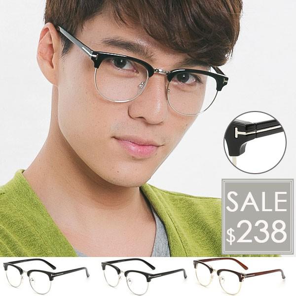 OT SHOP 眼鏡框‧中性‧韓國型男T 字金屬鉚釘裝飾鏡框‧可調式鼻墊‧橢圓型半框復古款
