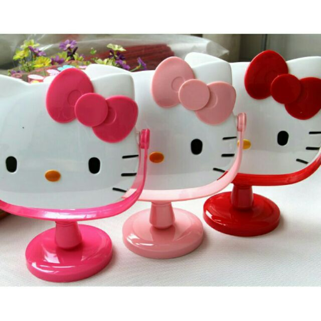 Kitty 可愛卡通梳妝台式鏡子浴室桌鏡旋轉化妝鏡台鏡