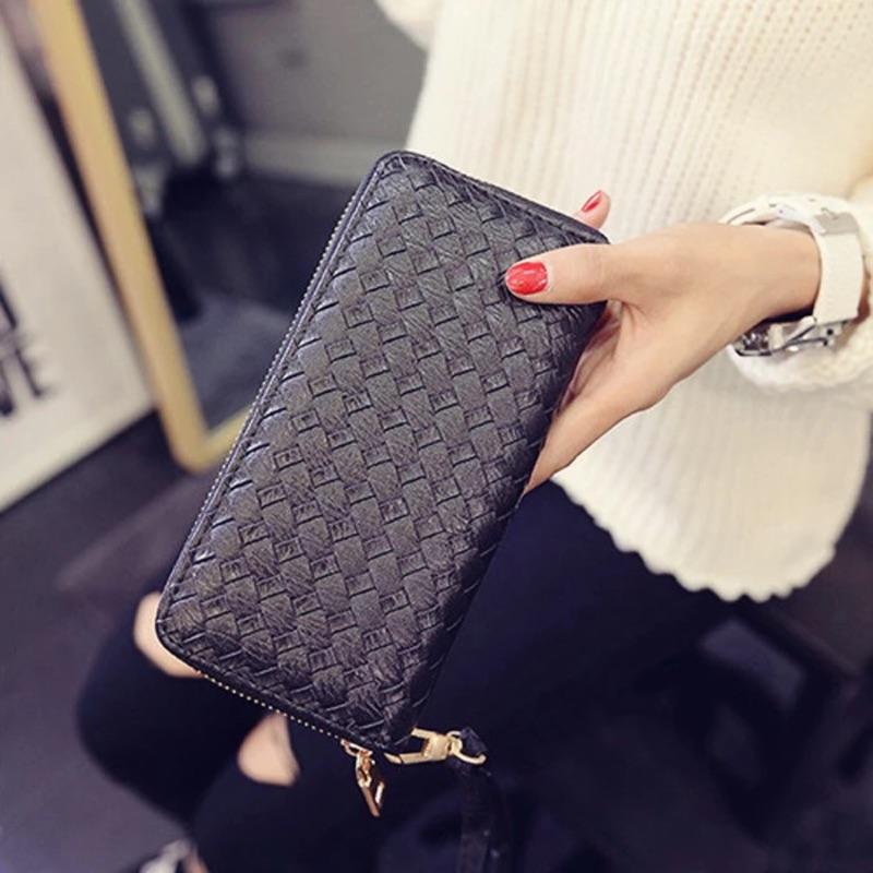 日韓女士錢包長款零錢包拉鍊女式手拿包編織棱型紋理