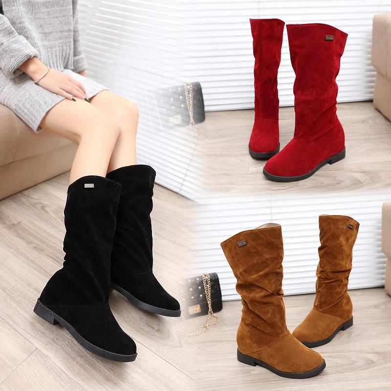 ☞☞☞ギケグn2016 中筒靴女靴子秋 平底騎士靴套筒加絨長靴學生馬丁靴高筒靴