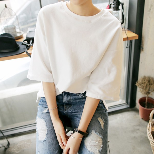 B35 白色百搭款 百搭五分袖圓領套頭T 恤女寬松純色中袖T 恤學生上