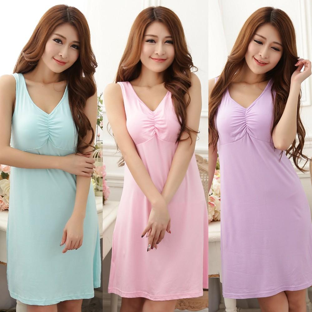免穿內衣牛奶絲混紡柔爽透氣BraT 洋裝睡衣168 紫水綠粉