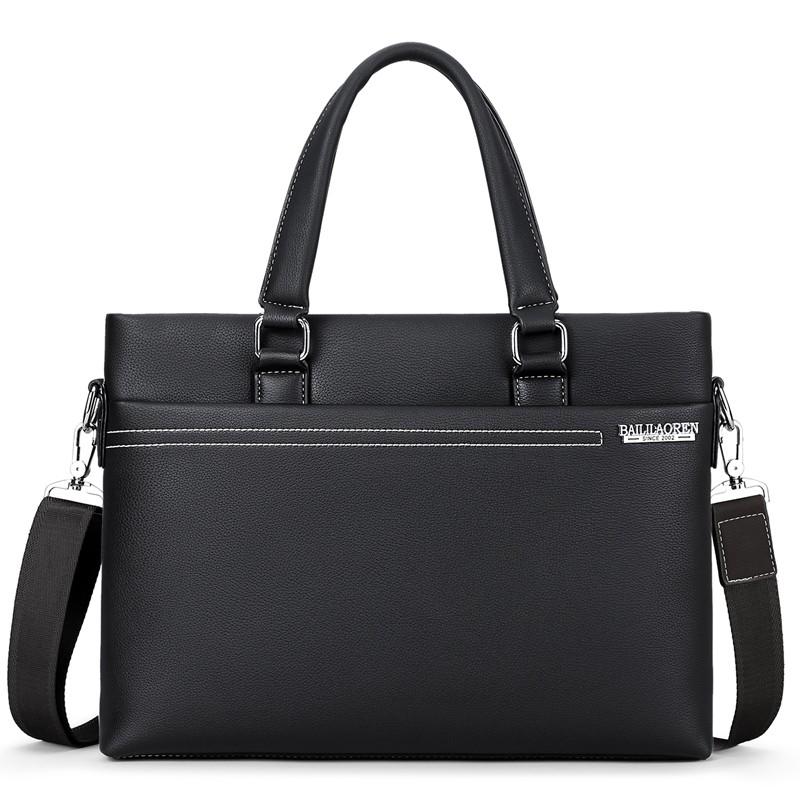 ~ ~男士手提包橫款商務公文包男包單肩包斜挎包男式皮包休閒電腦背包