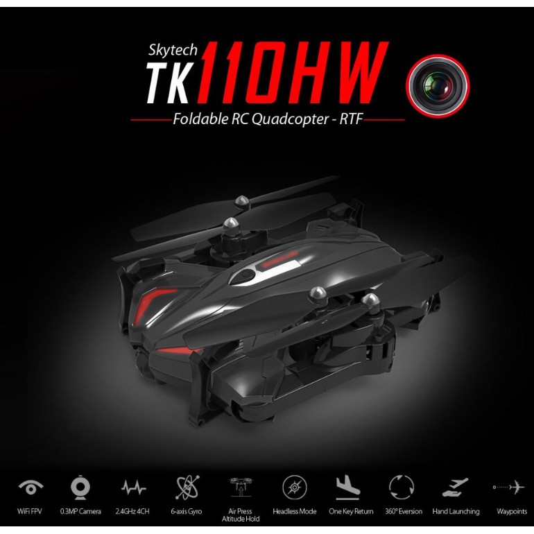 (爆款飛行距離200 米)盛楷四軸飛行器TK110W 折疊遙控無人機氣壓定高WIFI 航拍